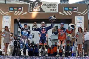 El podio la categoría motos