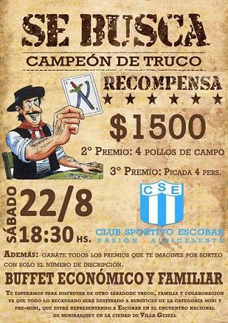 Nuevo torneo de Truco en el club Sportivo Escobar