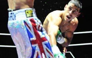 El Chino Verón en su pelea ante el británico Mark Hefron. El garinense, una vez más, buscará dar la sorpresa.