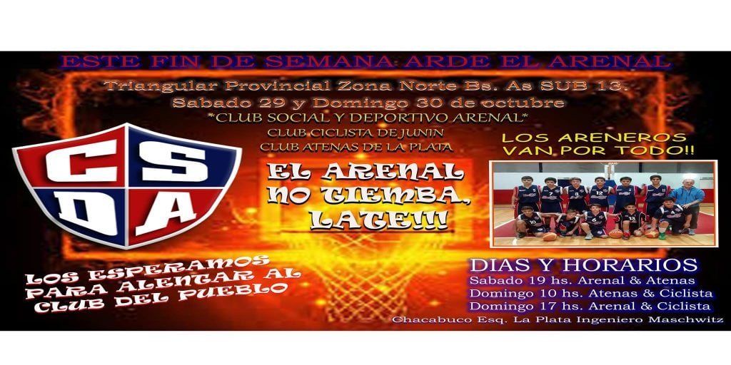 Arenal será sede del Provincial Masculino de Clubes U13