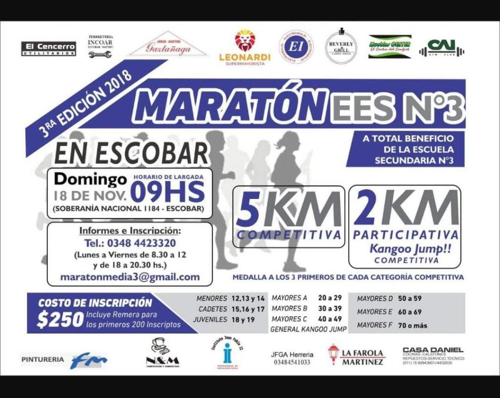 Se corre la 3° edición del Maratón de la Escuela Secundaria  3 de Escobar