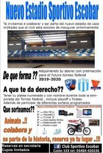 Sportivo Escobar, lanza la venta anticipada de plateas para su nuevo gimnasio