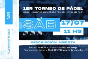 Torneo de Pádel en Sportivo Escobar